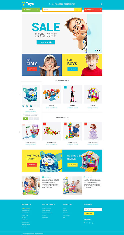 Template 53681 - Toys Store Responsive Magento Theme, Slider, Blog