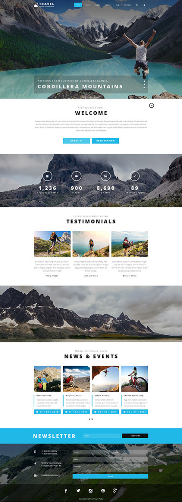 Template 54559 - Travel Agency Joomla Theme with Slider, Gallery, Blog, Video