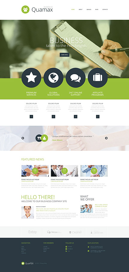 Template 54741 - Business Responsive Joomla Template with Parallax, Blog and Gallery