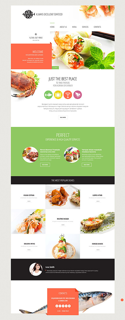 Template 54814 – Seafood Restaurant Responsive Website Template with Slider and Gallery