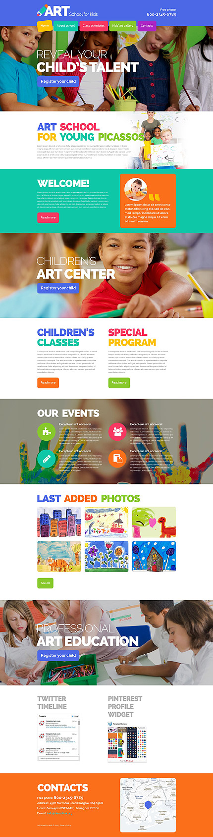Template 54875 - Art School Responsive Website Template with Parallax and Animation