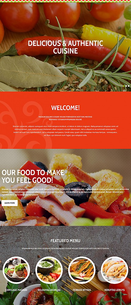 Template 54891 - Mexican Responsive Moto CMS 3 Website Template with Slider