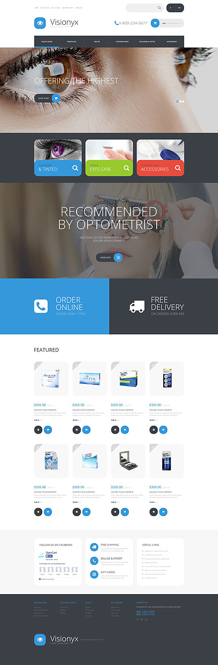 Template 54980 - Contact Lenses Responsive OpenCart Template with Carousel and Slider