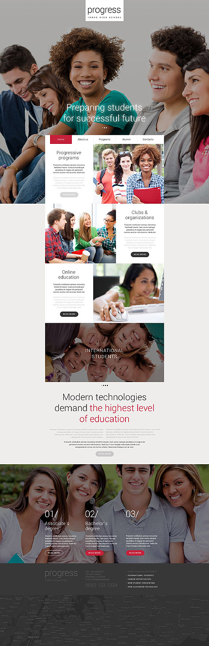 Template 54997 –Education Responsive Website Template Parallax, Carousel, Sliders