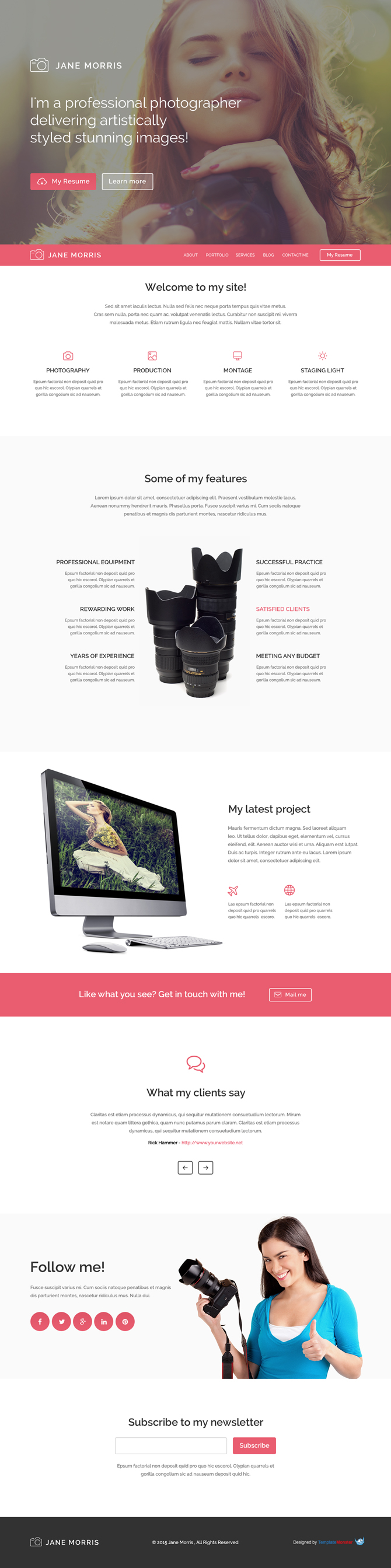 Free html5 responsive wordpress theme for photographers for Free photography website templates
