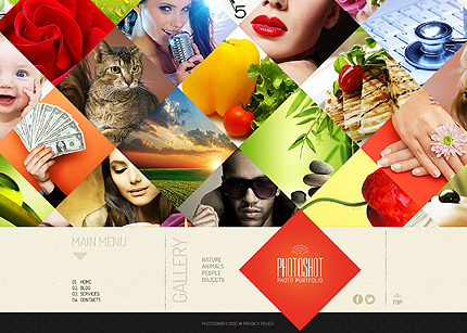 Template 44294-Photography One-page Website Template Spectacular Homepage Diamond-Grid Collage