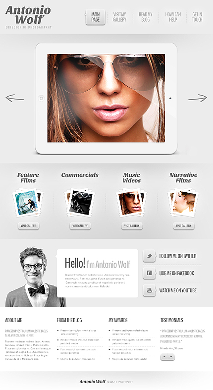 Template 44569 - Photography Responsive WordPress Theme with Homepage Slider, Gallery and Blog