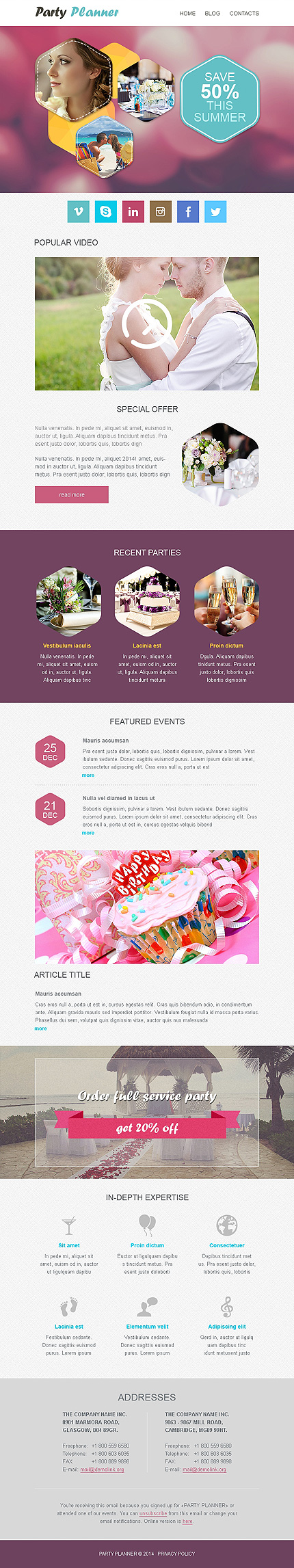 Template 50994 – Party Planner Responsive Newsletter Template with Hexagon Theme