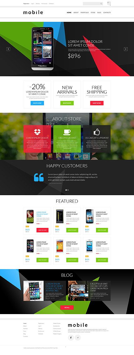 Template 52461 - Mobile Shop Responsive WooCommerce Theme with Triangles, Gallery and Blog