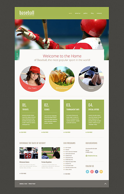 Template 52538 - Baseball Club Responsive Website Template with Slider, Gallery and Blog