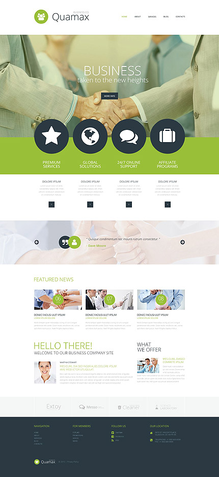 Template 52950 - Business Responsive WordPress Theme with Parallax, Gallery and Blog, Lazy Load Effect