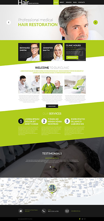 Template 53016 - Hair Transplant Responsive WordPress Theme with Slider, Carousel, Parallax, Lazy Load Effect, Blog, Gallery