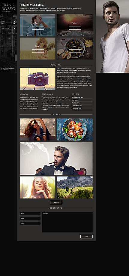 Template 53418- Photography Portfolio Responsive Single-Page Website Template