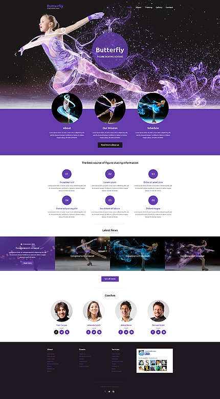 Template 53539 - Figure Skating Responsive Website Template With Lazy Load, Gallery, Carousel