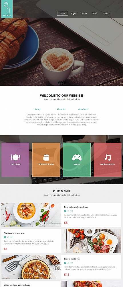 Template 54768 – IT Cafe Moto CMS HTML Template with Slider, Color Blocks, Transparent Overlays