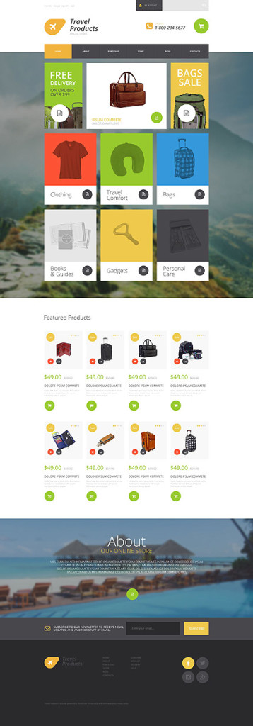 Template 54867 - Travel Products Responsive WooCommerce Theme with Parallax, Slider, Large Background Image, Portfolio
