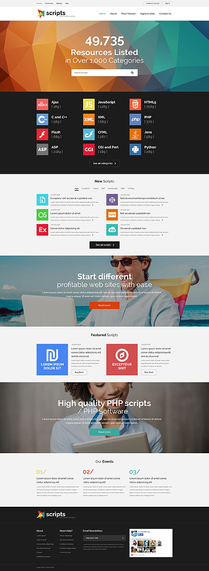 Template 54873   Script Directory Responsive Website Template With Parallax