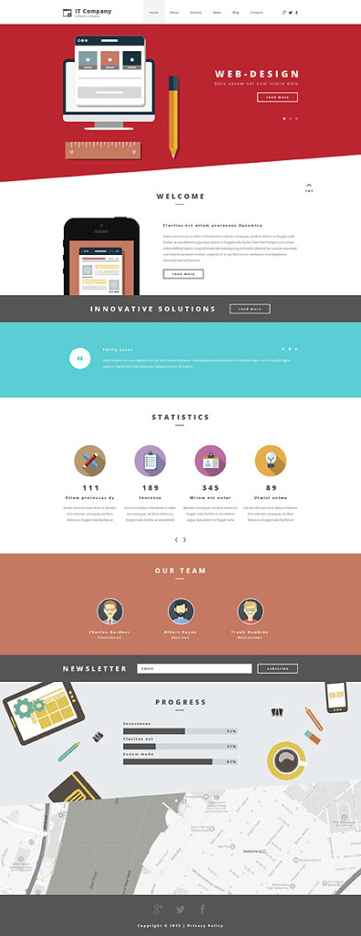 Template 55252 - IT Consultant Responsive WordPress Theme with Slider, Parallax, Blog, Gallery, Color Blocks
