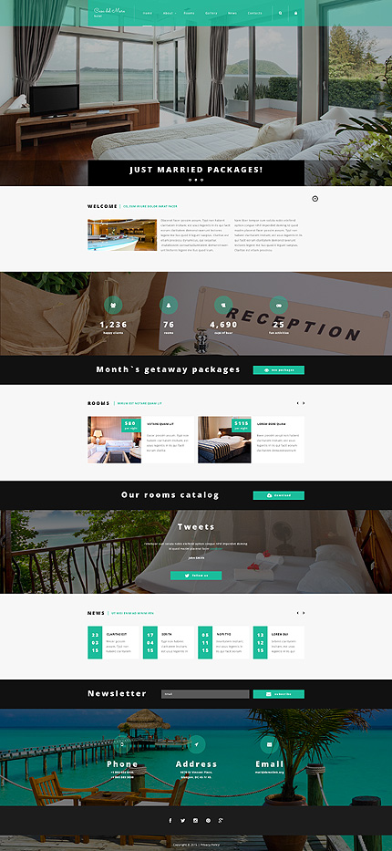 Template 55286 – Luxury Hotel Responsive Joomla Template with Slider, Carousel, Parallax, Gallery, Blog