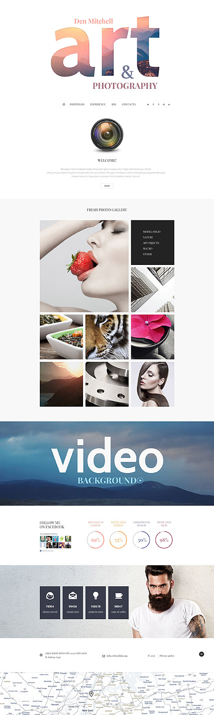 Template 55368 - Art and Photography Portfolio Responsive Joomla Template, Video Background