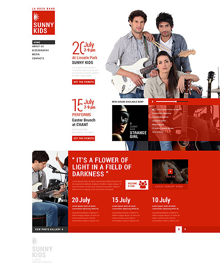 Template 53410 – Music Band Responsive Website Template with Gallery, Carousel, Video, Audio