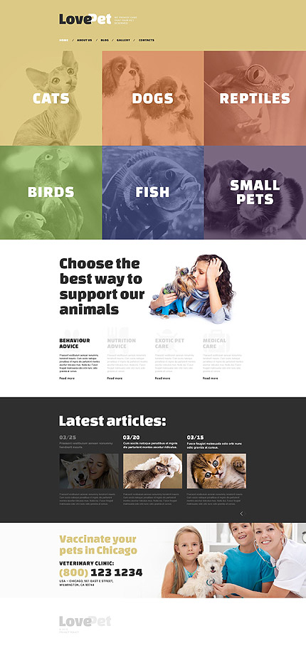 Template 53821 - Love Pet Responsive Drupal Template with Parallax, Gallery and Blog
