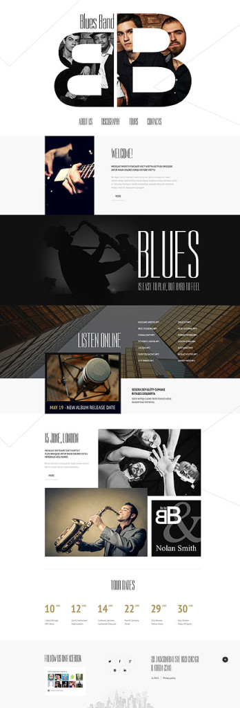 Template 55079 - Blues Band Responsive Website Template