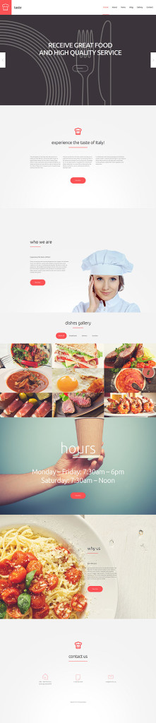 Template 55690 – Café and Restaurant Responsive WordPress Theme with Slider, Parallax, Gallery and Blog