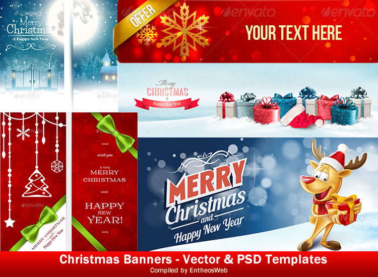Christmas Banners - Vector & PSD Templates
