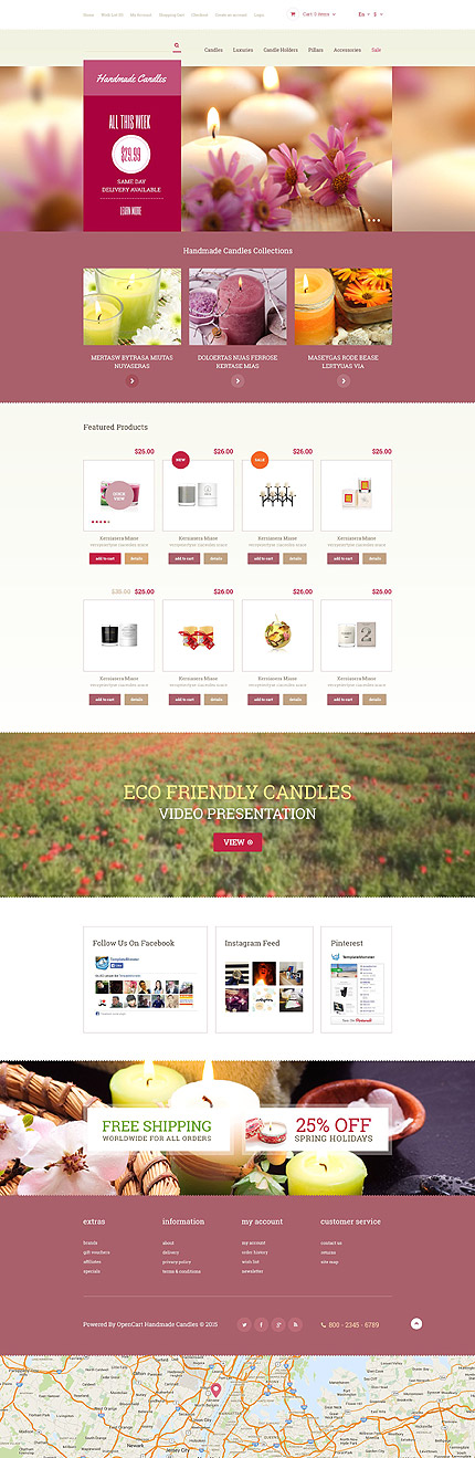 Template 54024 - Handmade Candles Responsive OpenCart Template
