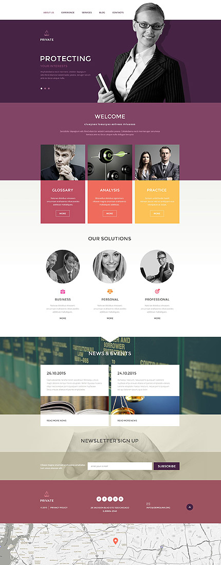Template 54611 - Private Lawyers Responsive Drupal Template with Blog, Portfolio, Parallax, Lazy Load Effect, Slider