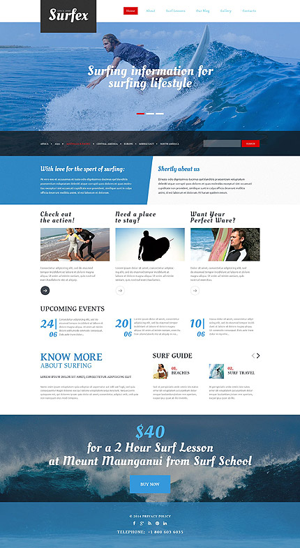 Template 54965 - Surfex Surfing Responsive Drupal Template with Slider, Gallery, Blog