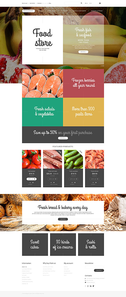 Template 55004 - Food Online Responsive Magento Theme with Newsletter Pop-up, Parallax, Ghost Buttons