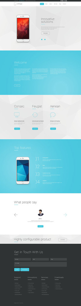 Template 55121 - Softapp Software Responsive Drupal Template with Polygon Theme, Blog, Portfolio