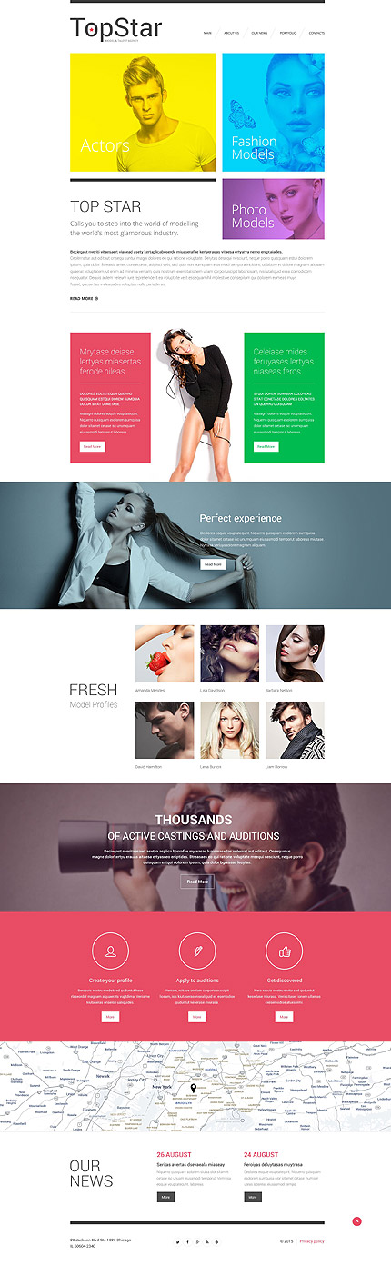 Template 55276 -Top Star Responsive Website Template with Parallax and Lazy Load Effect