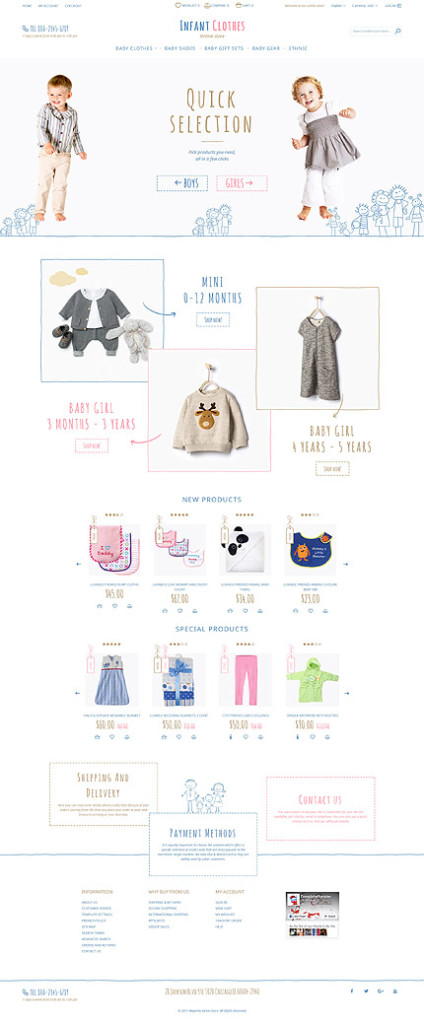 Template 58079 - Magento Responsive Infant Baby Shop Template with Illustrations, Carousel, Slideshows, Video, Megamenu, Newsletter Popup