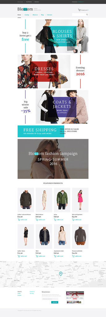 Template 58124 - Blossom Clothing Store Responsive VirtueMart Template with Banners, Video, Slideshow, Catalog and Blog