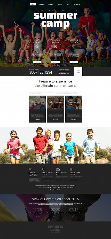Template 58416 - Summer Camping Responsive Moto CMS 3 Template