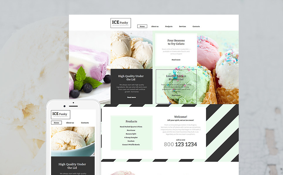 Ice Cream Moto CMS HTML Template
