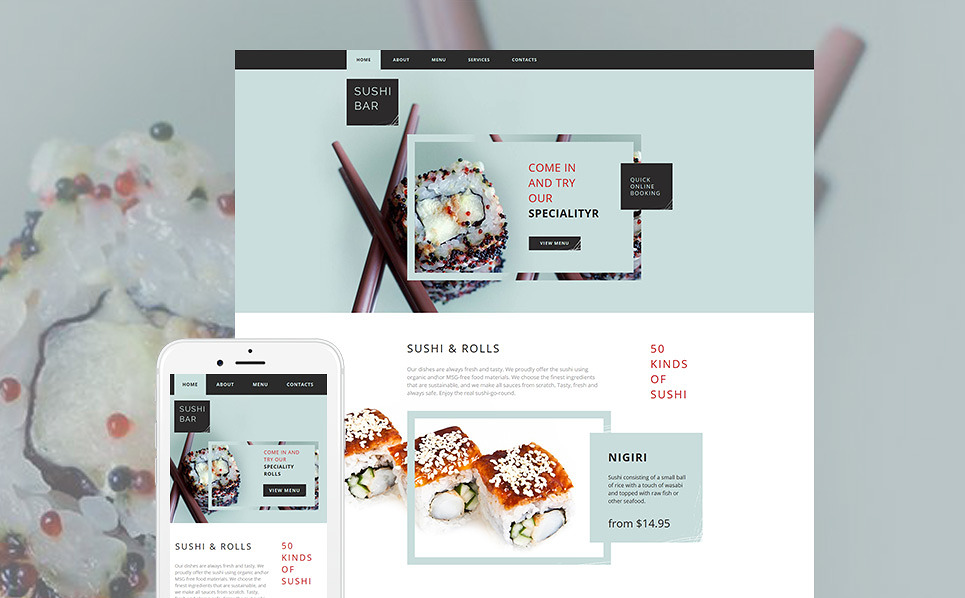 Template 61297 - Sushi Bar Moto CMS HTML Template