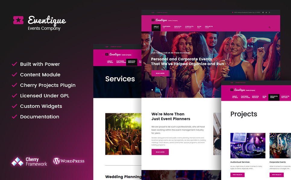 Eventique - events company WordPress Theme