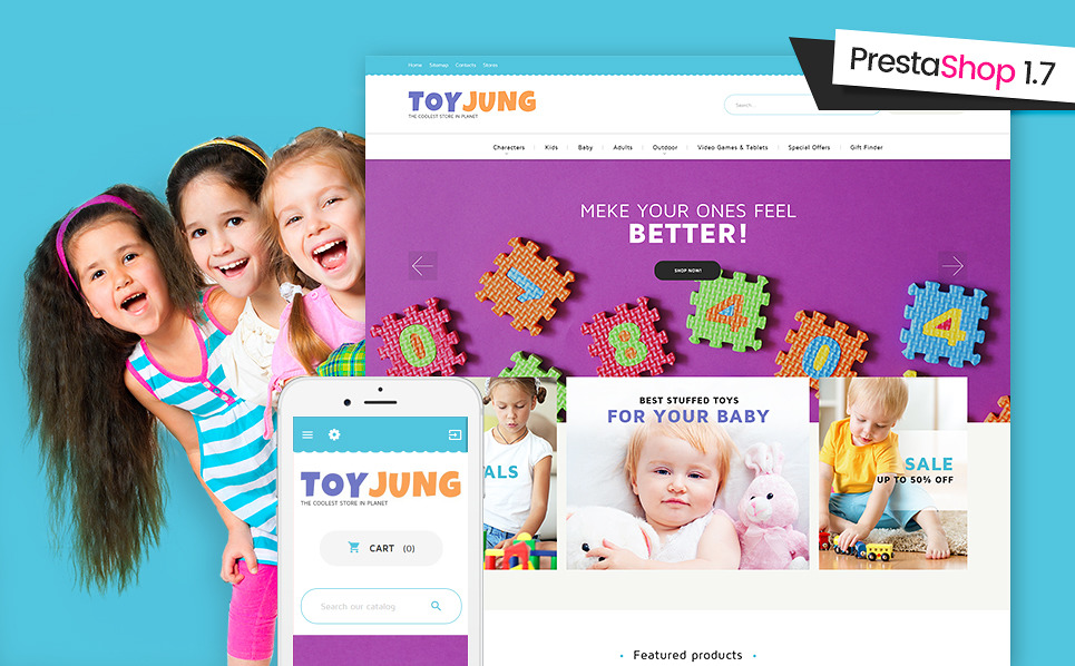 Template 61355 - Toy Jung Responsive PrestaShop Theme with Slider