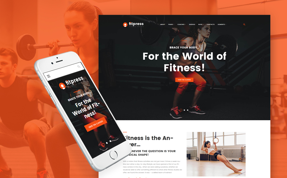 Template 61153 - Fitpress - Fitness & Gym WordPress Theme