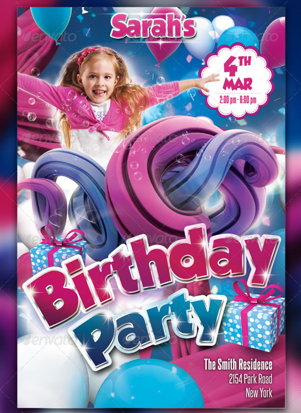Unique Kids Party Flyer