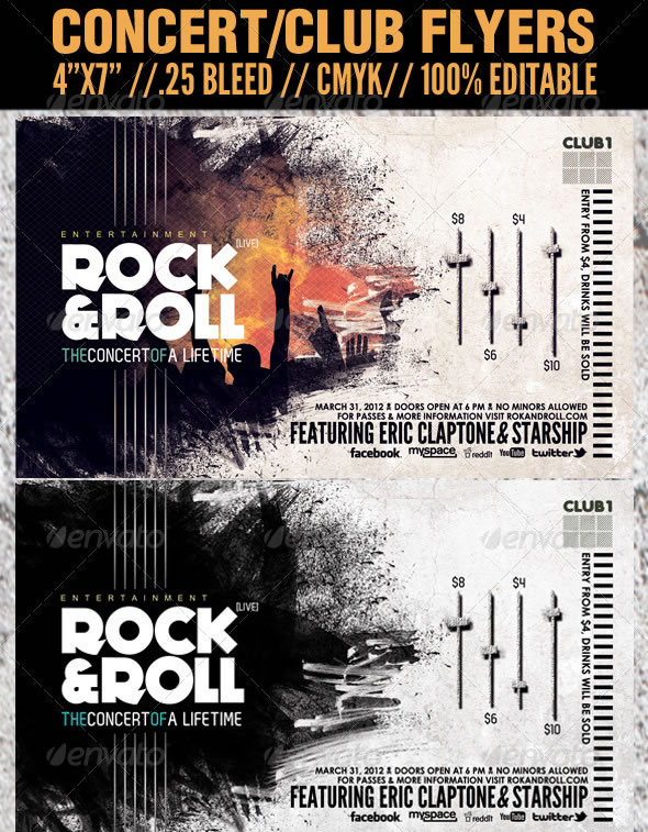 Concert Club Flyer Template - Rock and Roll