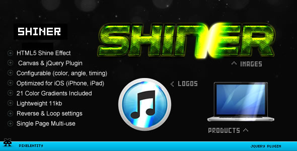 Shiner - HTML5 Canvas Glow Effects jQuery Plugin