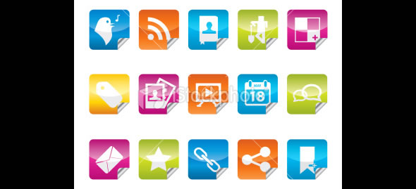 Sticker Shaped Social Media Icon Set