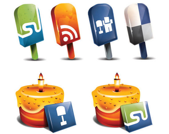 Popsicle and Cake Styled Social Media Icons