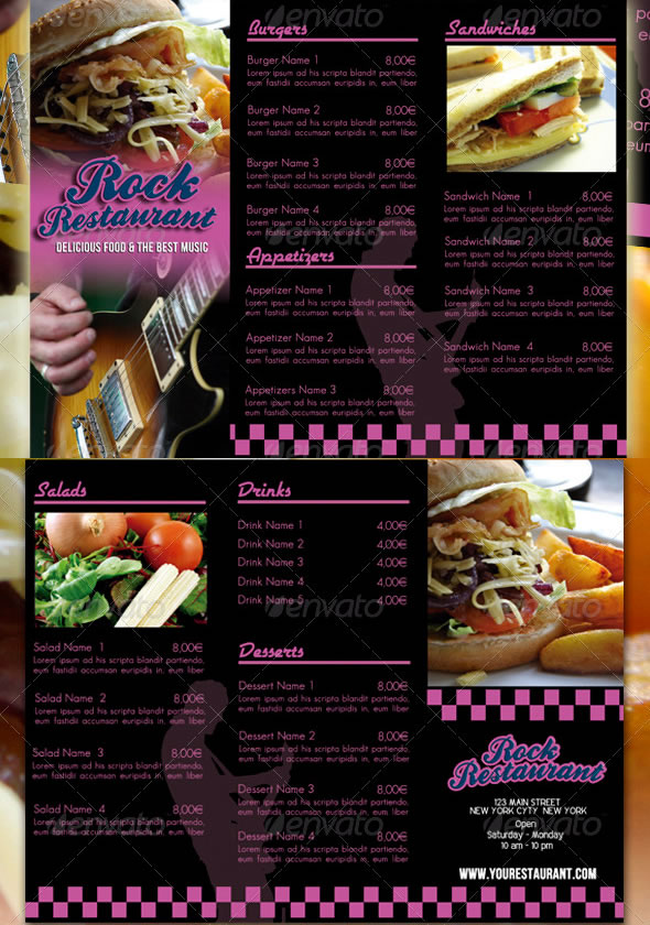 Rock Cafe Restaurant Menu Template