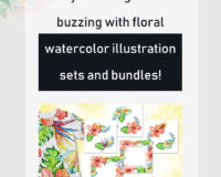 Get your design ideas buzzing with floral watercolor illustration sets and bundles!